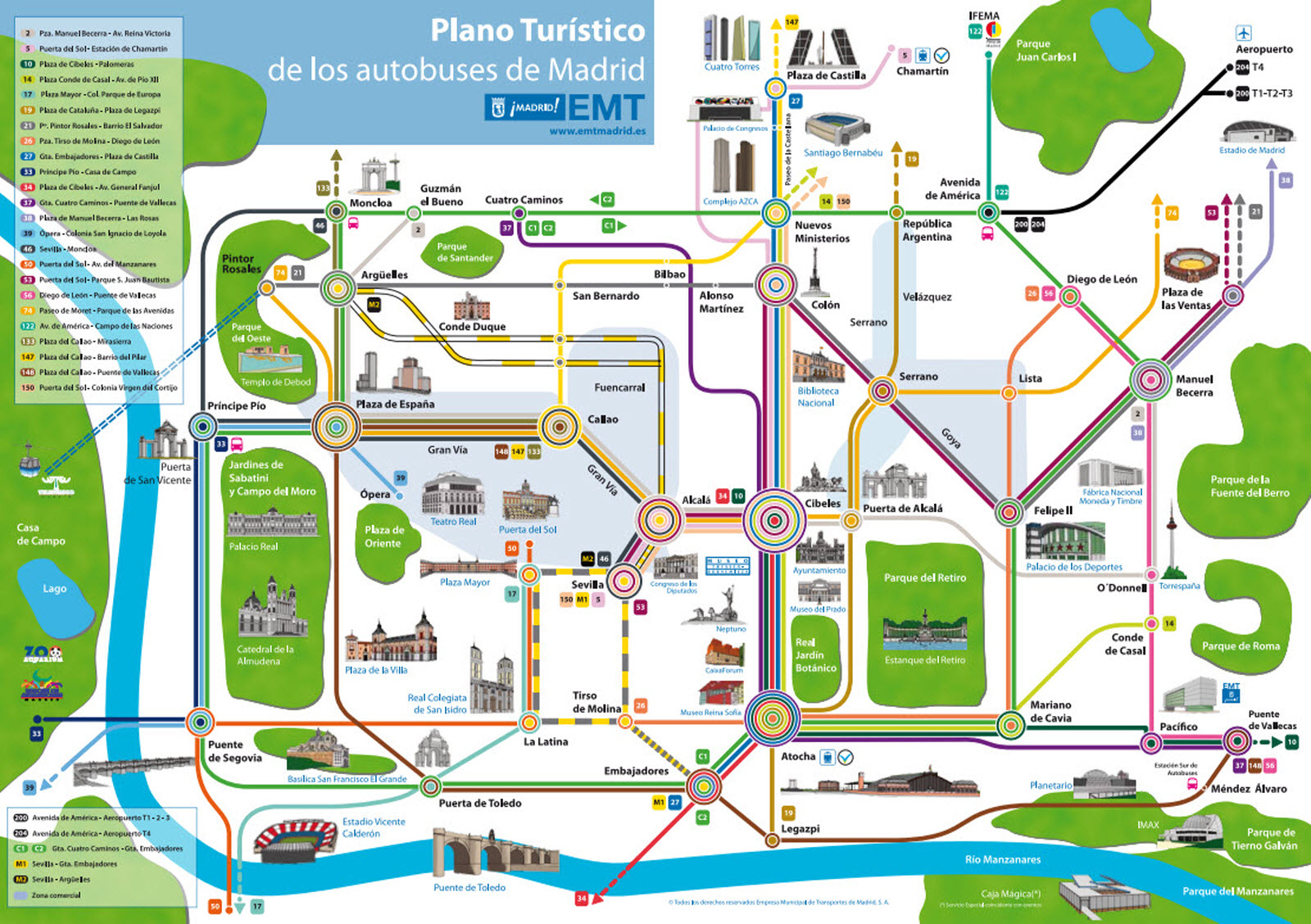 bus turismo madrid mapa