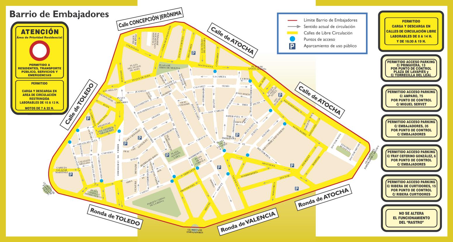 Plano Área de Prioridad Residencial del barrio de Embajadores