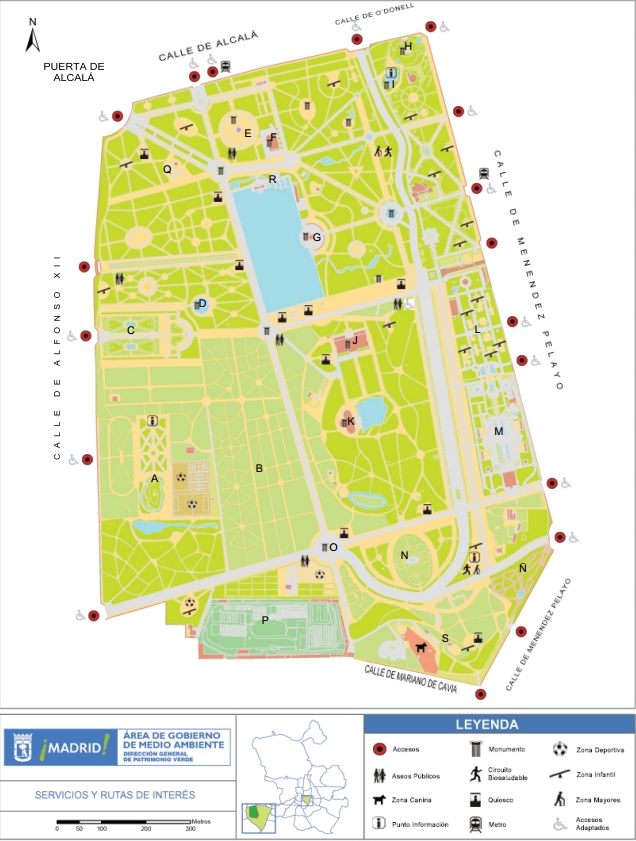 Mapa Parque Del Retiro.Jardines De El Buen Retiro Madrid Candidata Capital Europea