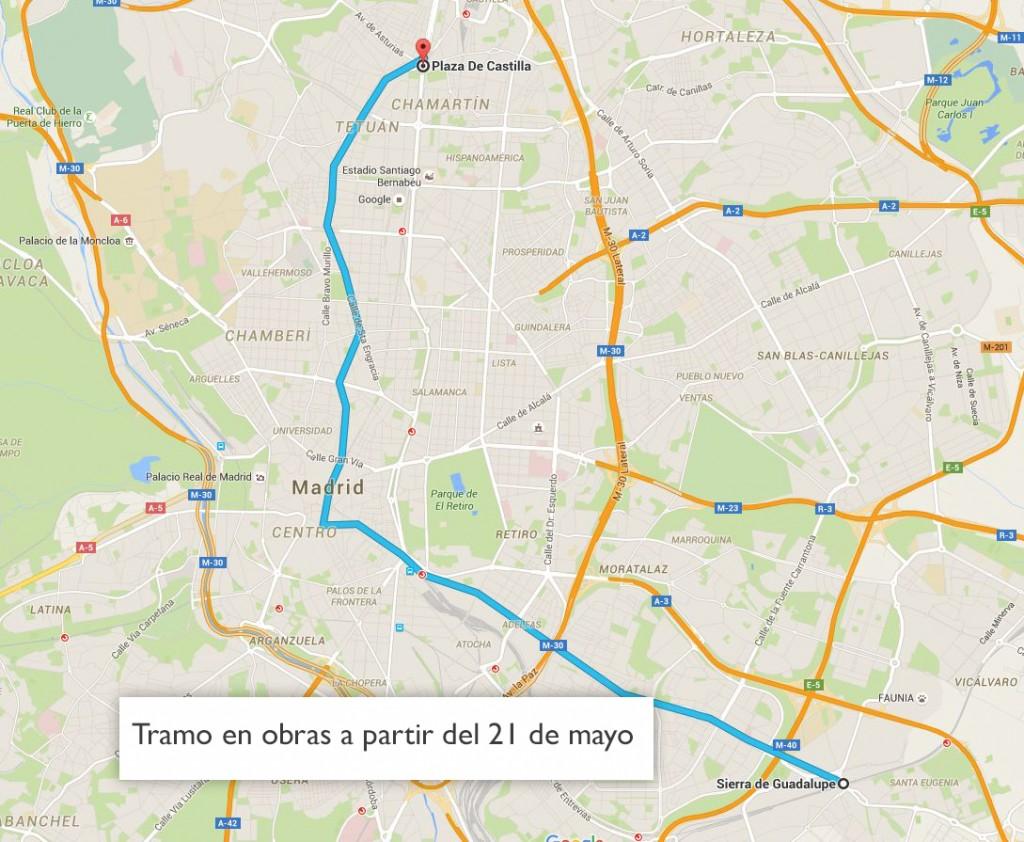 cortes plaza castilla sierra guadalupe mapa geografico tramo obras linea 1 madrid 2016 cortes mapa metro