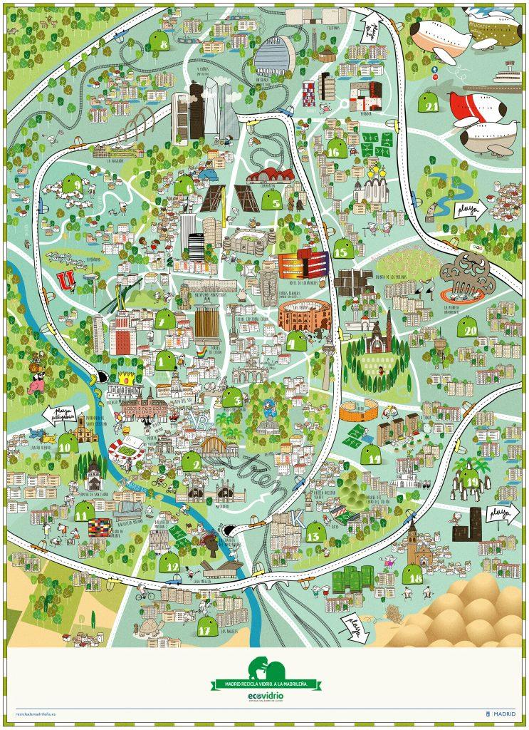 mapa ilustrado del reciclaje por distritos en madrid