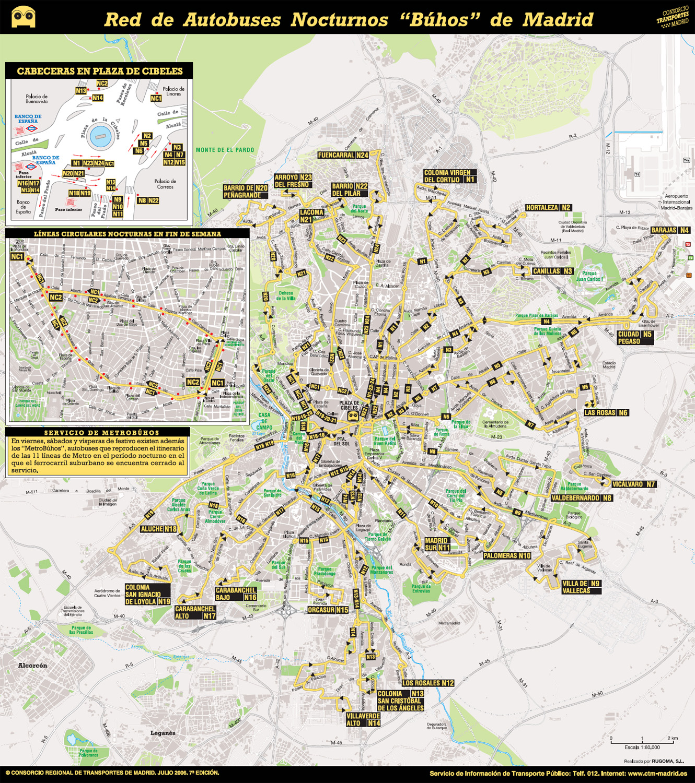 mapa autobuses nocturnos madrid