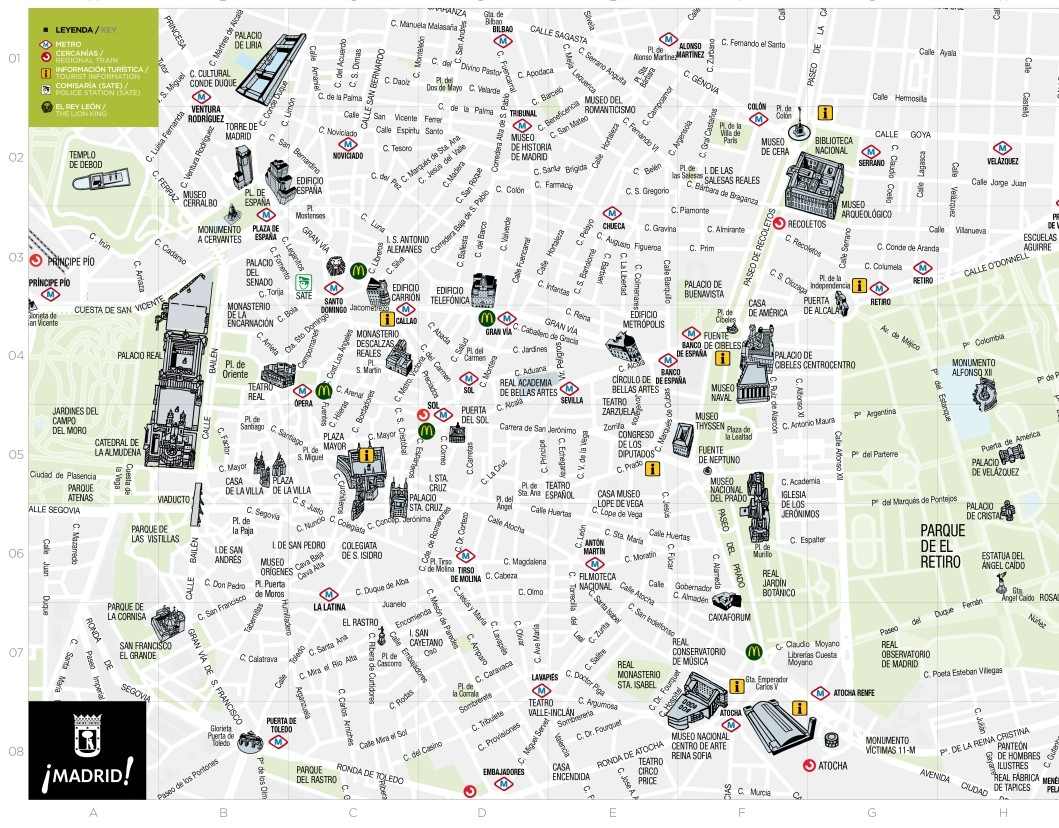 plano turistico madrid centro